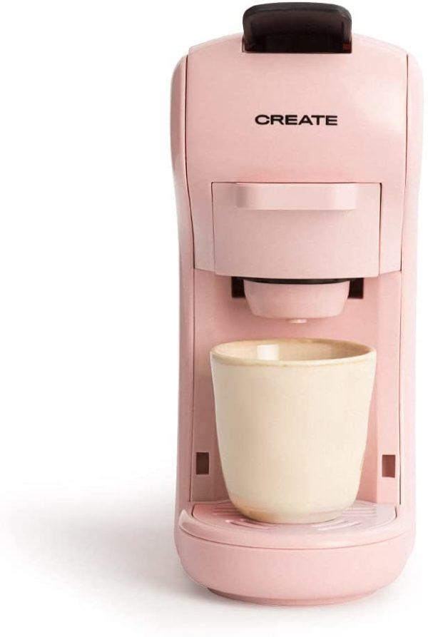 CREATE IKOHS Máquina de Café Espresso Italiano - Cafetera Multi Cápsulas Compatible Nespresso 3 en 1, 19 Bares con 2 Programas de Café, deposito extraíble, 0,6 L, 1450 W (Rosa pastel)
